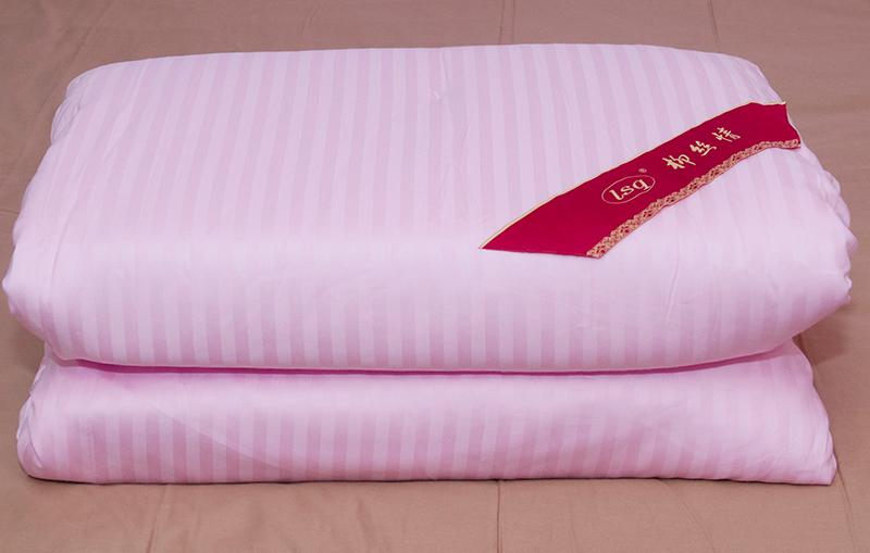 特级蚕丝被100%桑蚕丝 粉色条纹